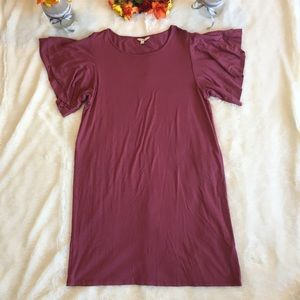 Lucky Brand Sandwash Maroon Tee Shirt Dress Sz L